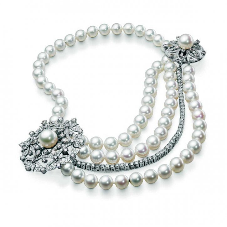 Bucherer White Pearl and Diamond Triple Stranded Necklace