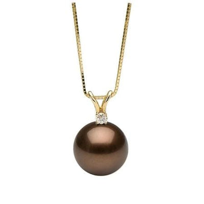 Sold Out! Chocolate Tahitian Pearl and Diamond Pendant, Sizes: 10.0-12.0mm