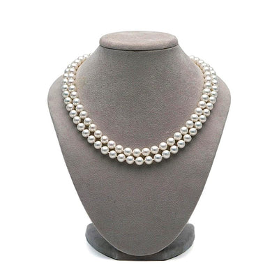 White Freshwater Double Strand Pearl Necklace, 7.5-8.0mm
