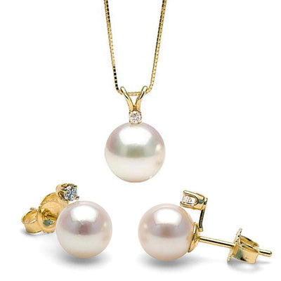 White Akoya Pearl and Diamond Radiance Pendant and Earring Set 7.0-7.5mm