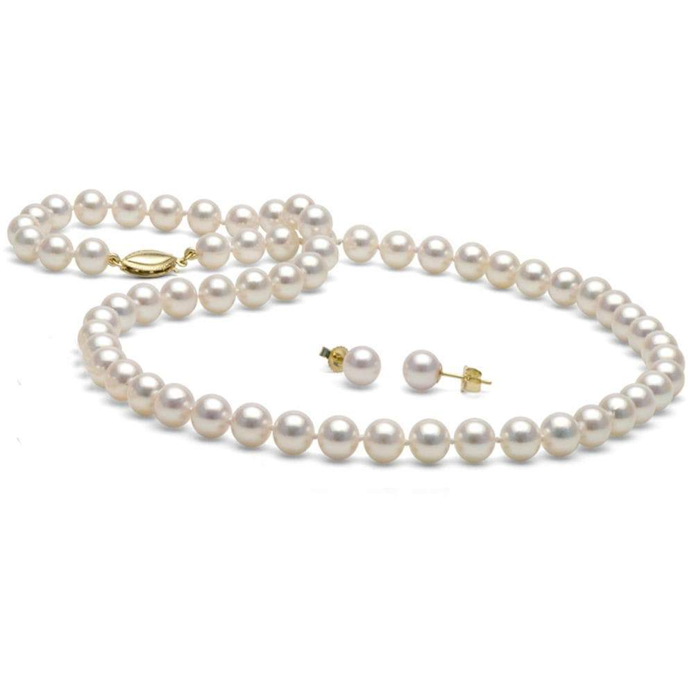 6c515d6c5af White Akoya Pearl 2-Piece Necklace and Earring Set, 6.5-7.0mm