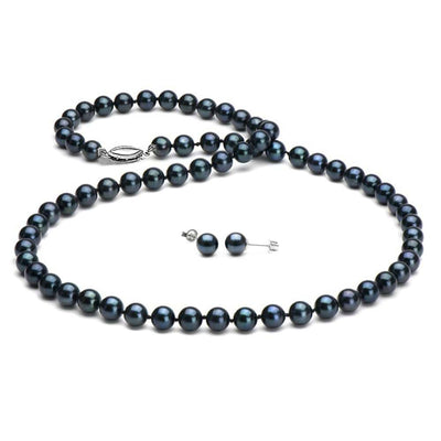 Black Akoya Pearl 2-Piece Necklace and Earring Set, 6.5-7.0mm