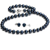 Black Akoya Pearl 2-Piece Necklace and Earring Set, 7.0-7.5mm, 14K White Gold