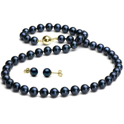 Black Akoya Pearl 2-Piece Necklace and Earring Set, 7.0-7.5mm, 14K Yellow Gold