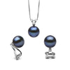 Black Freshwater Classic Pendant and Earring Set, Sizes 8.0-10.0mm, Classic Clip-On (Non-Pierced) Version in 14K White Gold Shown