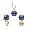 Black Freshwater Classic Pendant and Earring Set, Sizes 8.0-10.0mm, Classic Clip-On (Non-Pierced) Version in 14K Yellow Gold Shown