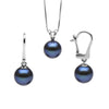 Black Freshwater Classic Pendant and Earring Set, Sizes 8.0-10.0mm, Classic Dangle Version in 14K White Gold Shown