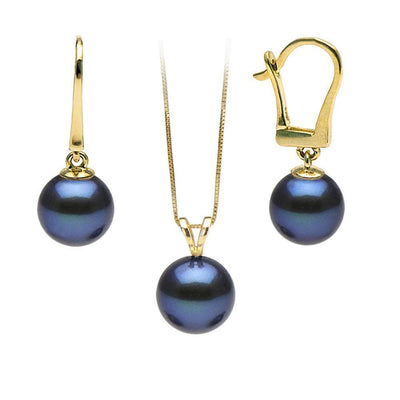 Black Freshwater Classic Pendant and Earring Set, Sizes 8.0-10.0mm, Classic Dangle Version in 14K Yellow Gold Shown