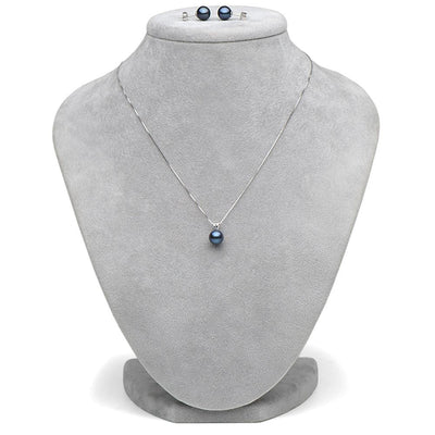 Black Freshwater Classic Pendant and Earring Set, Sizes 8.0-10.0mm, Classic Stud Version in 14K White Gold Shown on Bust