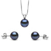 Black Freshwater Classic Pendant and Earring Set, Sizes 8.0-10.0mm, Classic Stud Version in 14K White Gold Shown