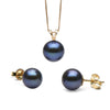 Black Freshwater Classic Pendant and Earring Set, Sizes 8.0-10.0mm, Classic Stud Version in 14K Yellow Gold Shown