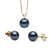 Black Freshwater Classic Pendant and Earring Set