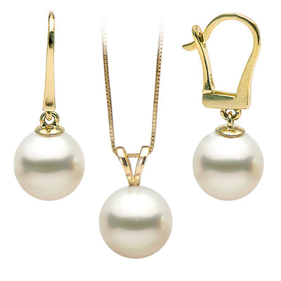 White Freshwater 2-Piece Classic Pendant and Dangle Earring Set