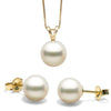 White Freshwater Classic Pendant and Earring Set, Sizes 8.0-10.0mm, Classic Stud Earring Version, 14K Yellow Gold