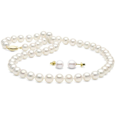 White Elite Collection 2-Piece Necklace and Earring Pearl Set, 7.5-8.0mm