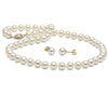 White Freshwater Pearl 2-Piece Necklace and Earring Set, 6.5-7.0mm, 14K Yellow Gold