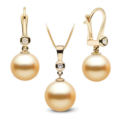Golden South Sea Pearl and Diamond Bezel Pendant and Dangle Earring Set, 14K Gold