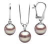 Lavender Freshwater Classic Pendant and Dangle Earring Set, Sizes 8.0-10.0mm, 14K White Gold