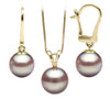 Lavender Freshwater Classic Pendant and Dangle Earring Set, Sizes 8.0-10.0mm, 14K Yellow Gold