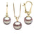 Lavender Freshwater Classic Pendant and Dangle Earring Set