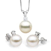 White South Sea Pearl and Diamond Glimmer Pendant and Earring Set, 10.0-11.0mm, 14K White Gold