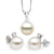 White South Sea Pearl and Diamond Glimmer Pendant and Earring Set, Sizes: 10.0-13.0mm