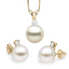 White South Sea Pearl and Diamond Glimmer Pendant and Earring Set, 10.0-11.0mm, 14K Yellow Gold