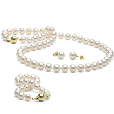 White Akoya Pearl 3-Piece Jewelry Set, 7.0-7.5mm