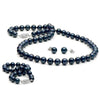 Black Akoya Pearl 3-Piece Jewelry Set, 6.0-6.5mm, 14K White Gold