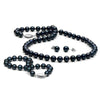 Black Akoya Pearl 3-Piece Jewelry Set, 6.5-7.0mm, 14K White Gold
