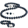 Black Akoya Pearl 3-Piece Jewelry Set, 7.0-7.5mm, 14K White Gold
