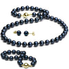 Black Akoya Pearl 3-Piece Jewelry Set, 7.0-7.5mm, 14K Yellow Gold