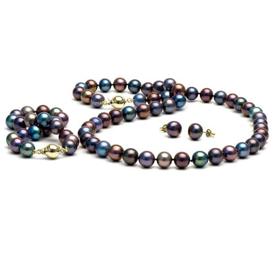 Black Freshwater Pearl 3-Piece Jewelry Set, 8.5-9.0mm, 14K Yellow Gold