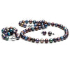 Black Freshwater Pearl 3-Piece Jewelry Set, 8.5-9.0mm, 14K White Gold