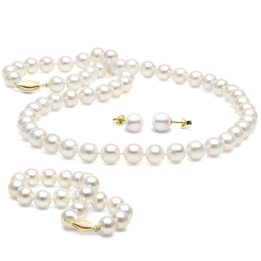 Long 24 7.5 set Genuine 8-9mm ROUND White Strand Pearl Necklace Bracelet Stud Earrings 3pc set Cultured Freshwater PEARL ROMANCE