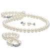 White Freshwater Pearl Jewelry Set, 6.5-7.0mm, 14K White Gold