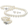 White Elite Collection 3-Piece Pearl Set, 8.5-9.0mm, 14K White Gold