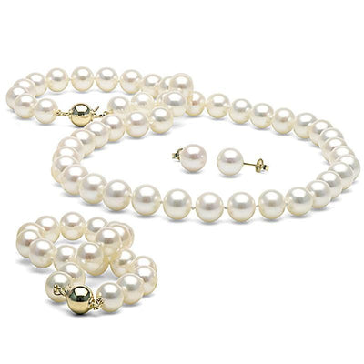 White Elite Collection 3-Piece Pearl Set, 8.5-9.0mm, 14K Yellow Gold