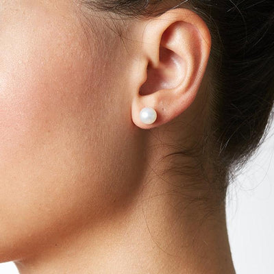 Pearl Stud Earring 7.0-8.0mm Size Range as Shown on Model