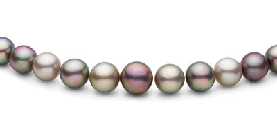 Multi-Colored Round Sea of Cortez Pearl Necklace, 18-Inches, AAA Quality, 14K Gold - Center Section Close Up