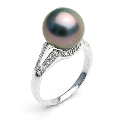 Black Tahitian Pearl and Diamond Victory Ring, 9.0-10.0mm, 14K Gold