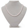 White Japanese Hanadama Akoya Pearl Necklace, 6.5-7.0mm, Shown on Jewelry Bust
