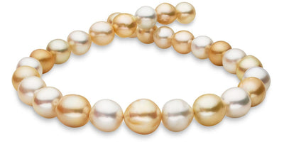 Sold Out! White and Golden South Sea Multi-Color Baroque Pearl Necklace, 18-Inch, 12.03-15.76mm, AA+/AAA Quality
