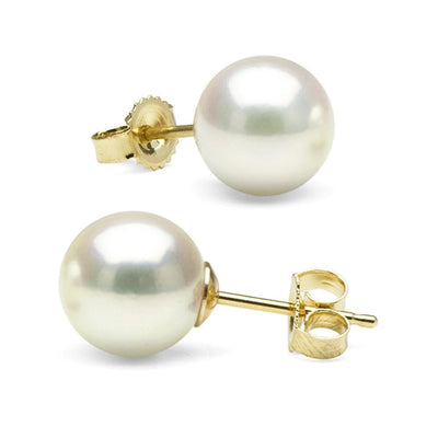 Untreated, Natural Color White Hanadama Akoya Pearl Earrings, 8.0-8.5mm 14K Yellow Gold