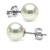 Natural-Color White Hanadama Japanese Akoya Pearl Earrings, 7.5-8.0mm, 14K White Gold