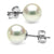 Natural-Color White Hanadama Japanese Akoya Pearl Earrings, 7.5-8.0mm