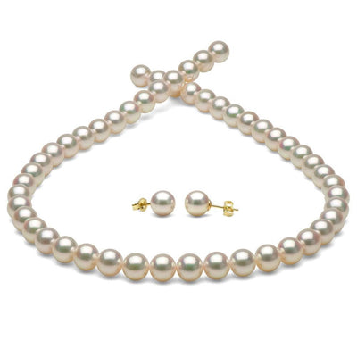White Hanadama Akoya Pearl Jewelry Set, 7.5-8.0mm, 14K Yellow Gold Version