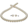 White Hanadama Akoya Pearl Jewelry Set, 8.0-8.5mm, 14K White Gold