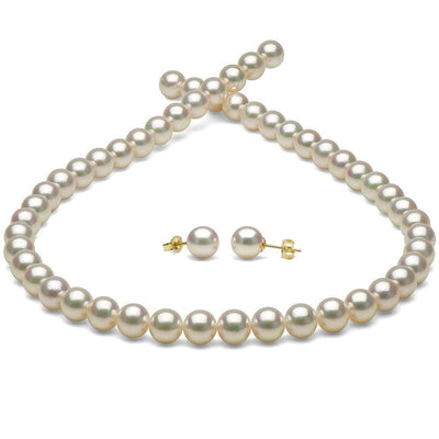White Hanadama Akoya Pearl Jewelry Set, 8.0-8.5mm, 14K Yellow Gold