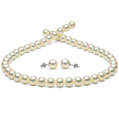 White Hanadama Akoya Pearl Jewelry Set, 8.5-9.0mm, 14K White Gold